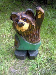 Бензопила медведь Резьба деревянный резной медведь черный медведь Резьба в комбинезоне | eBay