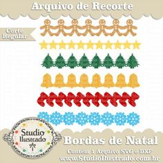 Bordas de Natal, Set Borders Christmas Ornaments, Biscoito, Estrela, Árvore, Sino, Meia, Floco de Neve, Christmas Borders, Borders Set Adornos de Navidad, Galleta, Estrella, Árbol, Campanas, Almacenamiento, copo de nieve, Cookie, Star, Tree, Bell, Stocking, Snowflake, Regular Cut, Corte Regular, Silhouette, SVG, DXF, PNG