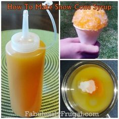 How to make Homemade Snow Cone Syrup, Cheap snow cone syrup!any flavor frugal way to enjoy a sunny day! Frozen Desserts, Frozen Treats, Just Desserts, Delicious Desserts, Dessert Recipes, Yummy Food, Snow Cone Syrup, Snow Cones, Eat Dessert First
