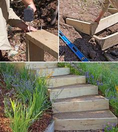 DIY Garden Steps & Stairs Lots of ideas tips & tutorials! Including from 'bhg australia' they show how to build these outdoor stairs.