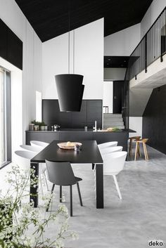 Black and white themed dining room