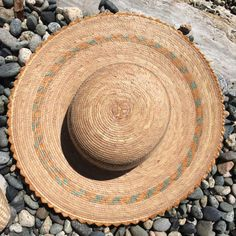 Mexican sun hat straw hat with scallop edging by FolkFortune