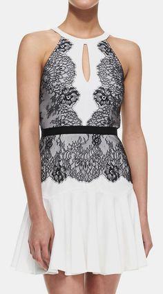 Cusp  BCBGMAXAZRIA - Leyla Lace Detailed Halter Dress, Off White/Black