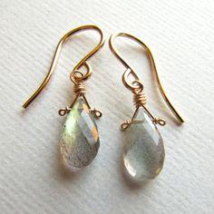 labradorite earrings - interesting wire briolette wrap