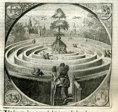 Jacob Cats Alle de Wercken Amsterdam J. Labyrinth Maze, Labyrinth Garden, Meditation Garden, Historical Art, True Art, Fantasy Landscape, Dark Ages, Drawing People, Sacred Geometry