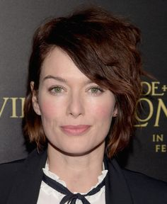 Lena Headey Messy Cut - Lena Headey styled her short locks with tousled waves for the premiere of 'Pride and Prejudice and Zombies. Long Hair On Top, Very Short Hair, Long Curly Hair, Short Hair Cuts, Curly Hair Styles, 60s Mens Hairstyles, Popular Short Hairstyles, Messy Hairstyles, Hairdos