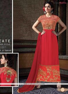 Gleaming Red Designer Suit  Email - support@ethnicoutfits.com Call - +918140714515 What's app/Viber- +918141377746