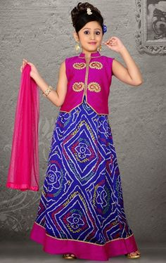 Picture of Plushy Blue Color Kids Lehenga Choli