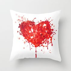 Bloody Valentine Throw Pillow by Emily Andrus Lopuch - $20.00  So cool!!!