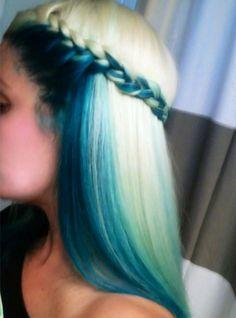 Blue and blonde hair + cute braid styling