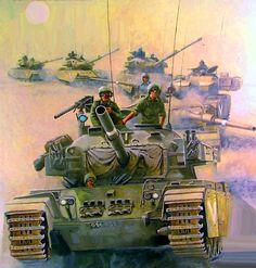 Israeli tanks advancing in the Sinai Desert, Six Days War