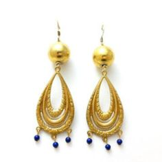 Saturday Night Savvy. Vintage Gold Ball Etched Gold Tone Stamp Lapis Stone Dangle Earrings    http://thenearby.com/posts/1569