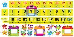 Owl-Stars!® Number Line -20 to 120 Bulletin Board Set | TRENDenterprises.com