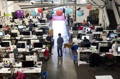 """Inside Pinterest's offices in San Francisco. From article """"As Pinterest Grows, Startup Seeks $2.5 Billion Valuation"""" via Wall Street Journal."""