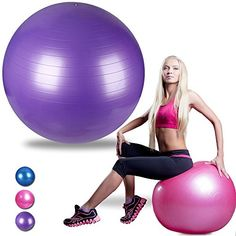 Ranbow Exercise Stability Ball Anti Burst  Slip Yoga Balls Perfect for Body Balance Fitness Professional Grade Workout Equipment with Pump  Exercise Guide 65cm L x 65cm W 2200 lb Purple ** See this great product.