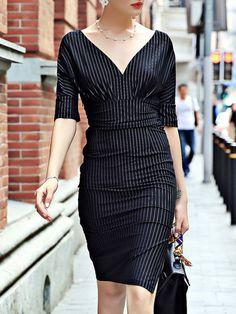 Printed Stripe Midi Dress. Love the bow and v-neck at back