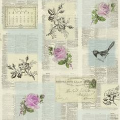 Rasch Tiles More - Grey Pink Green -Newspaper old Letters birds Wallpaper 885217 Kitchen And Bathroom Wallpaper, Dining Room Wallpaper, Sticky Wallpaper, Bird Wallpaper, Recycled Decor, Old Letters, Dinner Room, Estilo Shabby Chic, Collage