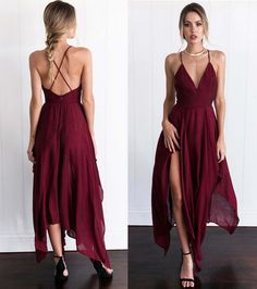 New Arrival Cross Back Wine Red Assymetrical hem Long Prom/Evening Dress,Braces dress,Sexy dress,Split at lower part of dress