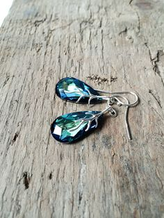 Bermuda Blue Teardrop Earrings / Swarovski Earrings / by DevikaBox, $32.00