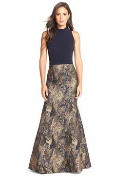 Theia Metallic Jacquard Mermaid Gown