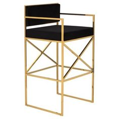 Check out this item at One Kings Lane! Walsh Barstool, Black/Gold