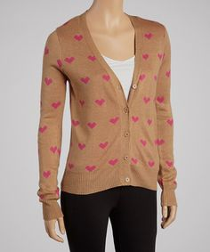 Take a look at this Lucca Couture Tan Heart Cardigan on zulily today!