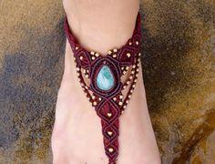 Sandalia descalzos Macrame aguamarina | Piedra de valor | Curación de cristal…