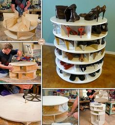 selber bauen Spinning Shoe Rack, is a Lazy Susan Shoe Rack, to use as a Shoe Storage Floor to Ceiling to Save Space Shoe Storage Floor To Ceiling, Closet Shoe Storage, Diy Shoe Rack, Shoe Racks, Diy Shoe Organizer, Handbag Organization, Storage Organization, Shoe Storage Lazy Susan, Lazy Susan Shoe Rack