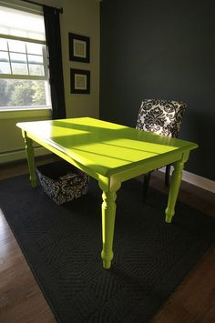 how fun to thrift an old table and paint a wow color to use as a desk.