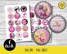 50% OFF SALE Barbie BottleCap-1 inch Bottlecap-Printable Image-Barbie collage…