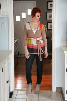 Thrift and Shout: Cute Outfit of the Day: Color Block Wrap Sweater, white tank/t-shirt & jeans