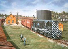 Railroad Print: Departure Time (Alma, KS) by M.E. Reulerson