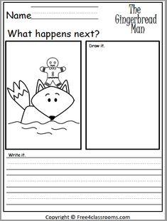 1st Grade Writing, Kindergarten Writing, Teaching Writing, Writing Activities, Comprehension Activities, Homeschool Kindergarten, Gingerbread Man Activities, Christmas Activities, Gingerbread Stories