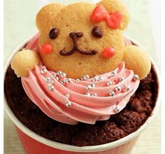 Find images and videos about cute, food and sweet on We Heart It - the app to get lost in what you love. Bear Cupcakes, Yummy Cupcakes, Cupcake Cakes, Cup Cakes, Cupcake Toppers, Amazing Food Art, Amazing Cakes, Cupcake Tumblr, Teddy Bear Birthday Cake