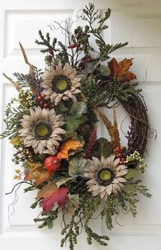 Cute Winter Wreath Decoration Ideas To Compliment Your Door - When most of us think of front door wreaths we think circle, evergreen and Christmas. Wreaths come in all types of materials and shapes. Outdoor Fall Wreaths, Christmas Wreaths For Front Door, Holiday Wreaths, Christmas Decorations, Winter Wreaths, Summer Wreath, Prim Christmas, Spring Wreaths, Christmas Trees