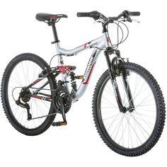 "Boys Mountain Bike 24"" Mongoose Bicycle Aluminum Full Suspension Frame Silver US #BoysMountainBike"