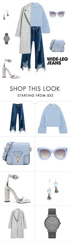 """Denim trend: Wide leg jeans!"" by sebolita ❤ liked on Polyvore featuring Jil Sander, Karl Lagerfeld, Alice + Olivia, Kendall + Kylie and Skagen"
