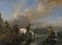 Philips Wouwerman (Haarlem 1619-1668) A river landscape with riders watering horses