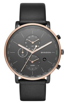 Skagen 'Hagen' Chronograph Leather Strap Watch, 42mm available at #Nordstrom