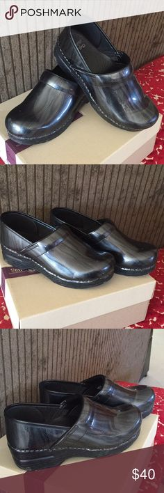 Dansko Black Leather Clogs Cool Design Sz 38 In good used condition no box. Dansko Shoes Mules & Clogs