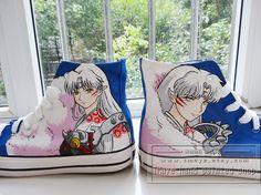 Anime Inuyasha hand painted shoes painted sesshoumaru on by TMaye