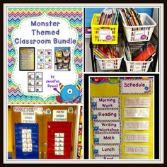 Monster Themed Classroom bundle with reading workstation cards and signs, math workstation cards, library book labels, and schedule cards. Editable cards and labels are also attached.$