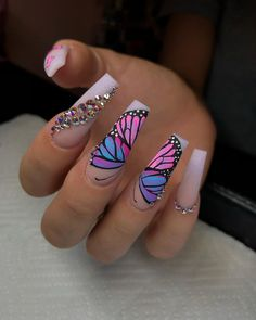 "Jayy-Suh-Pree on Instagram: ""I loveeeeee these so much 🦋🦋 * * *  #nailnews #nailart #nail #nails #nailporn #nailpolish #tmblrfeature #blackgirlsdonails #nailsoftheday…"""
