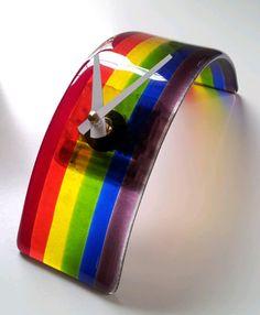 Fused+Glass+Rainbow+Clock+by+SeaLambGlass+on+Etsy,+$50.00