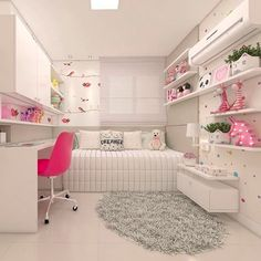 Pin By Sunwill On Atilde Kids Atilde In 2019 Small Room Bedroom Cute Bedroom Ideas, Cute Room Decor, Girl Bedroom Designs, Room Ideas Bedroom, Small Room Bedroom, Home Decor Bedroom, Study Room Decor, Teen Girl Bedrooms, Dream Rooms