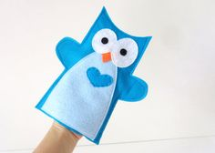 Felt Owl Hand Puppet for Small Hand, Handstitched, Handmade Toy- Ready to Ship A345  This cute Hand Puppet toy is 10.5 inches tall and approx. 6