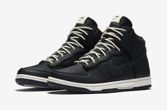5d52a0dc49db Nike Dunk High Ultra Rain features a Black-based leather upper with  Sail White