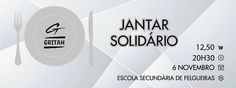 """Jantar Solidário Gritah!"", este banner foi criado para ilustrar o evento do Facebook associado. My World, Company Logo, Tech Companies, Facebook, Logos, Senior Secondary School, Dining, Logo"