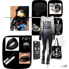 """Outfit1"" by fallonmariesnow on Polyvore made by meee!! clothes clothing winter cold weather sexy hot scene indie gothe girl scene girl dark black  emo"