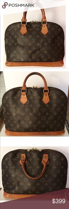 "💯Authentic Louis Vuitton Monogram Alma PM Bag 100% Authentic Vintage Louis Vuitton Alma PM Bag. Made in France, date code BA0925. L11"" x H9.5"" x D6.5"". Monogram leather has has minor dirt marks and creases. Leather trim/straps have discoloration, creases, dirt marks, scuffs, bottom corner edge has minor tear (SEE PIC). Hardware has minor scratches and fading, zipper works properly. Interior has stain and loose thread in small pocket (SEE PIC). I didn't cut it in case new owner wants to…"